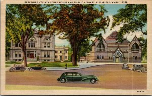 MA Pittsfield Massachusetts linen postcard COURT HOUSE LIBRARY UNPOSTED