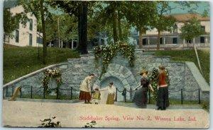 Winona Lake, Indiana Postcard Studebaker Spring, View No. 2 w/ 1910 Cancel