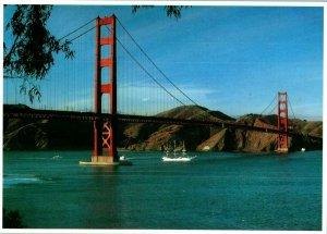 Christian Radich Norway Training Ship Sails Under Golden Gate Bridge Postcard