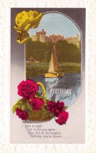 Vintage Embossed Postcard Best Birthday Wishes, Castle & Boat #124