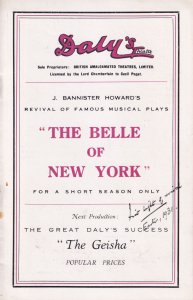The Belle Of New York Musical Dorothy Ward Dalys London Theatre Programme