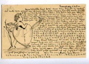 176800 CUPID w/ Heart Vintage HAND PAINTED Postcard