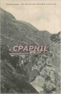 Old Postcard Hautes Pyrenees Luz Road has Gavarnie Bridge Sia