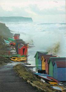 Whitby Yorkshire Beach Hut Devestation High Tide Damage Disaster Postcard