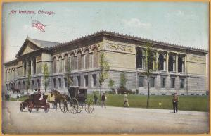 Chicago, ILL., Art Institute, Vintage Autos with Horse drawn buggies - 1909