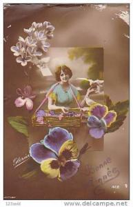 RP; Hand-colored, Bonne Annee Lady & Flowers & Doves, 00-10s