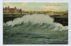 High Wave Asbury Park New Jersey 1910c postcard