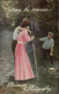Romance - Camera on Tripod - Pleasures of Photography c1910 Postcard