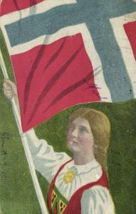 norway norge, Young Girl in Traditional Dress with Norwegian Flag (1910s) Stamp