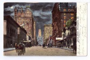 Philadelphia PA Broad Street Night Vintage 1906 UDB Postcard