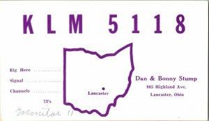 QSL Radio Card From Lancaster Ohio KLM 5118
