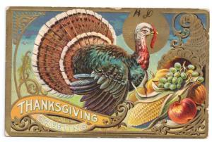 Thanksgiving Greetings Turkey Gold Cornucopia Fruit Corn Vntg Gilded Embossed Po