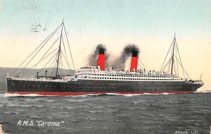 White Star Line Cunard Ship Post Card, Old Vintage Antique Postcard RMS Caron...