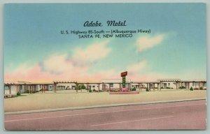 Santa Fe New Mexico~Adobe Motel~US 85 South~1940s Postcard