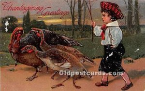 Artist PFB Thanksgiving Greetings 1908 light paint chips on front of card