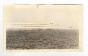 RP: 3 Navy Combat Planes fly over Battleship 1930-40s
