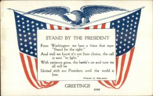 WWI US Propaganda Frank Nelson Quote Stand By President c1918 Postcard