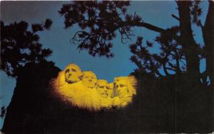 Mount Rushmore National Memorial Lighted @ Evening~1960 Postcard