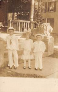 People and Children Photographed on Postcard, Old Vintage Antique Post Card S...
