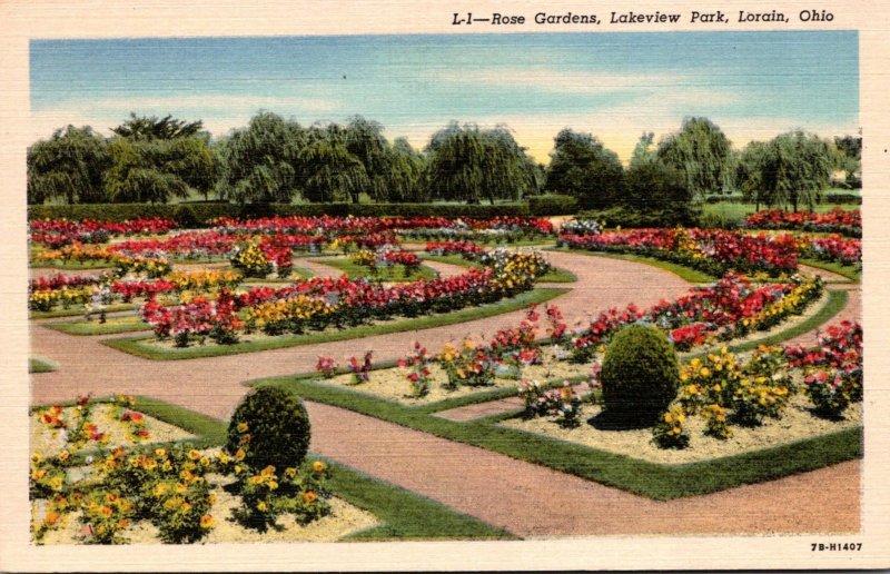 Ohio Lorain Lakeview Park Rose Gardens 1941 Curteich