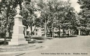 VT - Brandon. Park Street east from the Inn   ***RPO- Burlington & Troy  RR