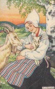 H. Selldin ; Girl & goat , 1920-30s