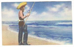 Girl in boots, surf fishing,30-40s