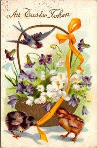 VINTAGE POSTCARD: AN  EASTER  TOKEN - FLOWERS - BIRD - BASKET - CHICKEN - PC