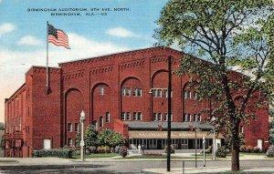 BIRMINGHAM, Alabama AL   BIRMINGHAM AUDITORIUM~8th Ave North 1945 Linen Postcard