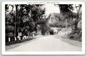 Adams Wisconsin~Scenic Route Lucky 13~Road Sign on Left~1920s B&W Postcard