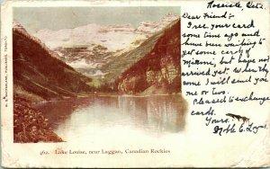 Vtg Postcard 1906 Private Post Card - Lake Louise Laggan Canadaian Rockies