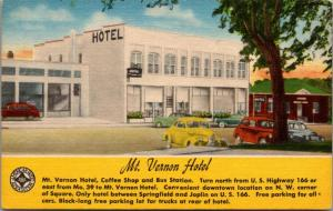 Mt Vernon Missouri~Mt Vernon Hotel~Coffee Shop~Bus Depot~US 166~1940s Linen PC