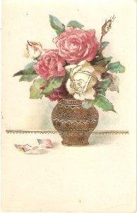 Beautiful roses in a vasevase Nice old vintage postcard