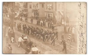 1906 RPPC Westfield, MA Firefighters on July 4th Parade Real Photo Postcard