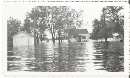 Flooded House and Garage Streets and Homes Real Photograph Vintage Photograph