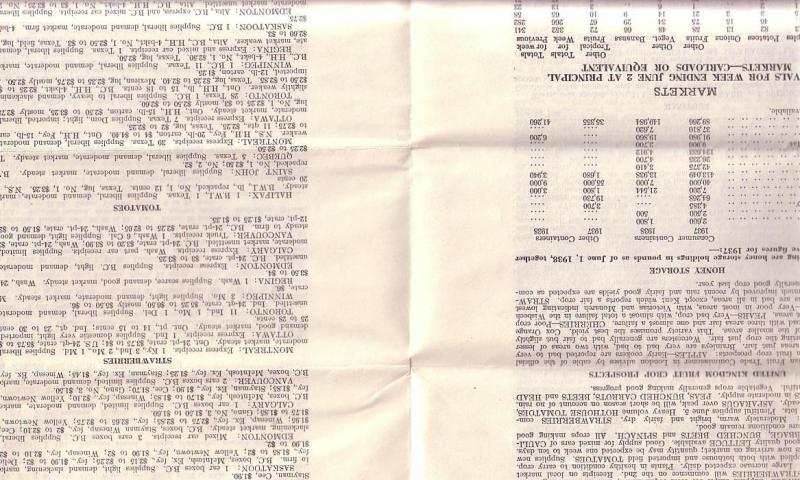 June 1938 Canada Department of Agriculture Crop News by Province
