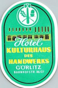 Germany Goerlitz Hotel Kulturhaus des Handwerks Vintage Luggage Label sk4734