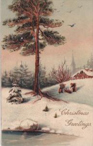 PFB Serie 9044 Christmas Greetings Beautiful Winter Landscape Scene