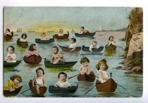 177748 MULTIPLE BABIES in Boats SHIPS Vintage COLLAGE PC
