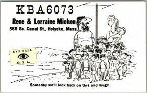 Holyoke, Massachusetts MA QSL / Ham Radio Postcard Rene & Lorraine Michon