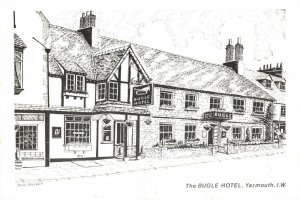 Art Sketch Postcard The Bugle Hotel Yarmouth Isle of Wight by Don Vincent AS1