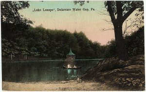 1915 Delaware Water Gap PA Lake Lenape Hand Colored RARE Old Antique DB Postcard