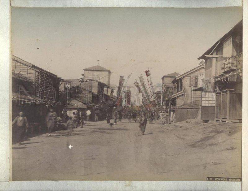 090638 JAPAN Nigiwaicho Yokohama & Geisha Vintage two PHOTOS