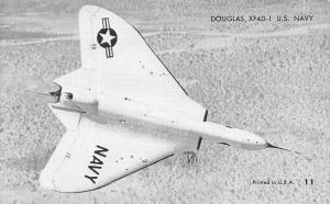 US Navy War Plane~Douglas XF4D-1~1950s B&W Arcade Card~USA #11