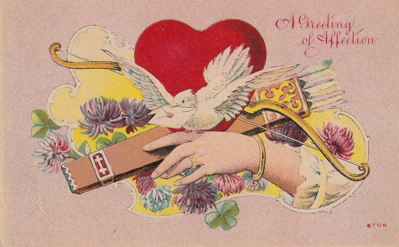 GREETING of AFFECTION, 1900-10s; Hand, Red Heart, Dove, Bow & arrows, Flowers