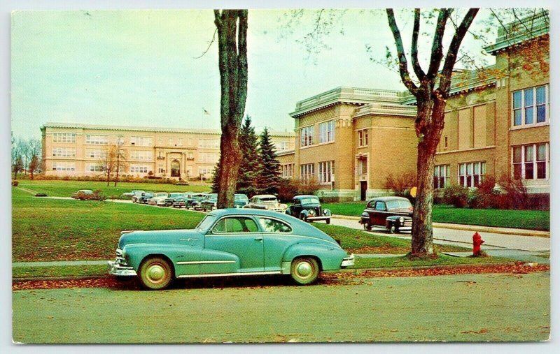 Eveleth MN~Public School Buildings~Close Up 1948 Oldsmobile Fastback~Cars~1950s