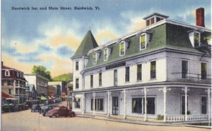 Hardwick VT -  Hardwick Inn and Main Street, 1930/40s