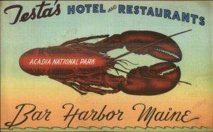 Bar Harbor ME Testa's Hotel Restaurant NICE LINEN Acadia Postcard