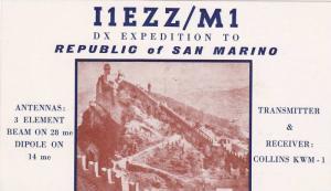 QSL Postcard , San Marino , 40-50s