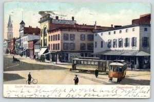 Hagerstown MD~South Potomac Street~Munson Furniture~Hotel Central~Trolleys~1907